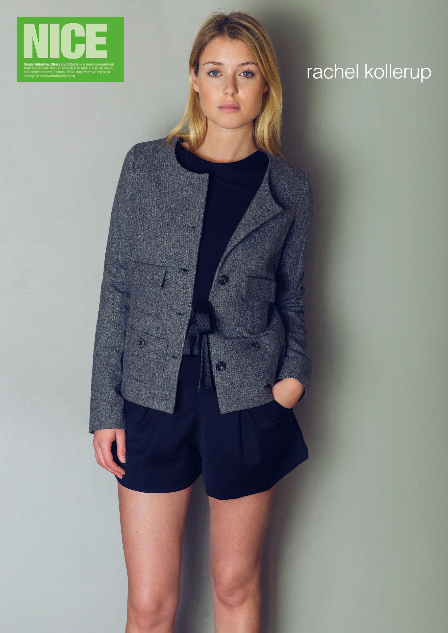 Jakke af genanvendt uld, langtidsholdbare sorte shorts og klassisk sort top. Det ene sæt fra Rachel Kollerup i NICE Kollektionen